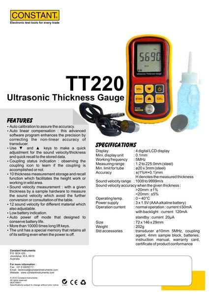 Brosur Constant TT220
